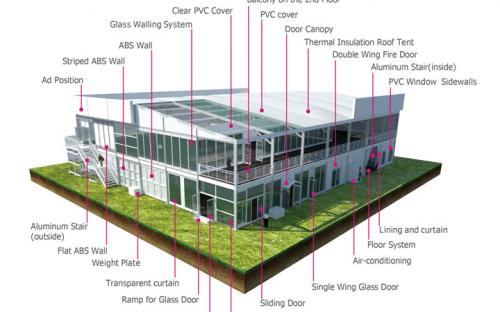 Двухэтажные кубические шатры (серия CSD) с надувной крышей